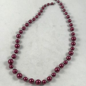 """1920s 18"""" Round Maroon pearl Necklace"""
